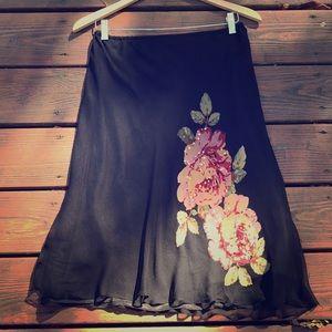 Robbie Bee  100% silk crepe skirt -painted detail